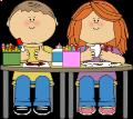 kids on table making art